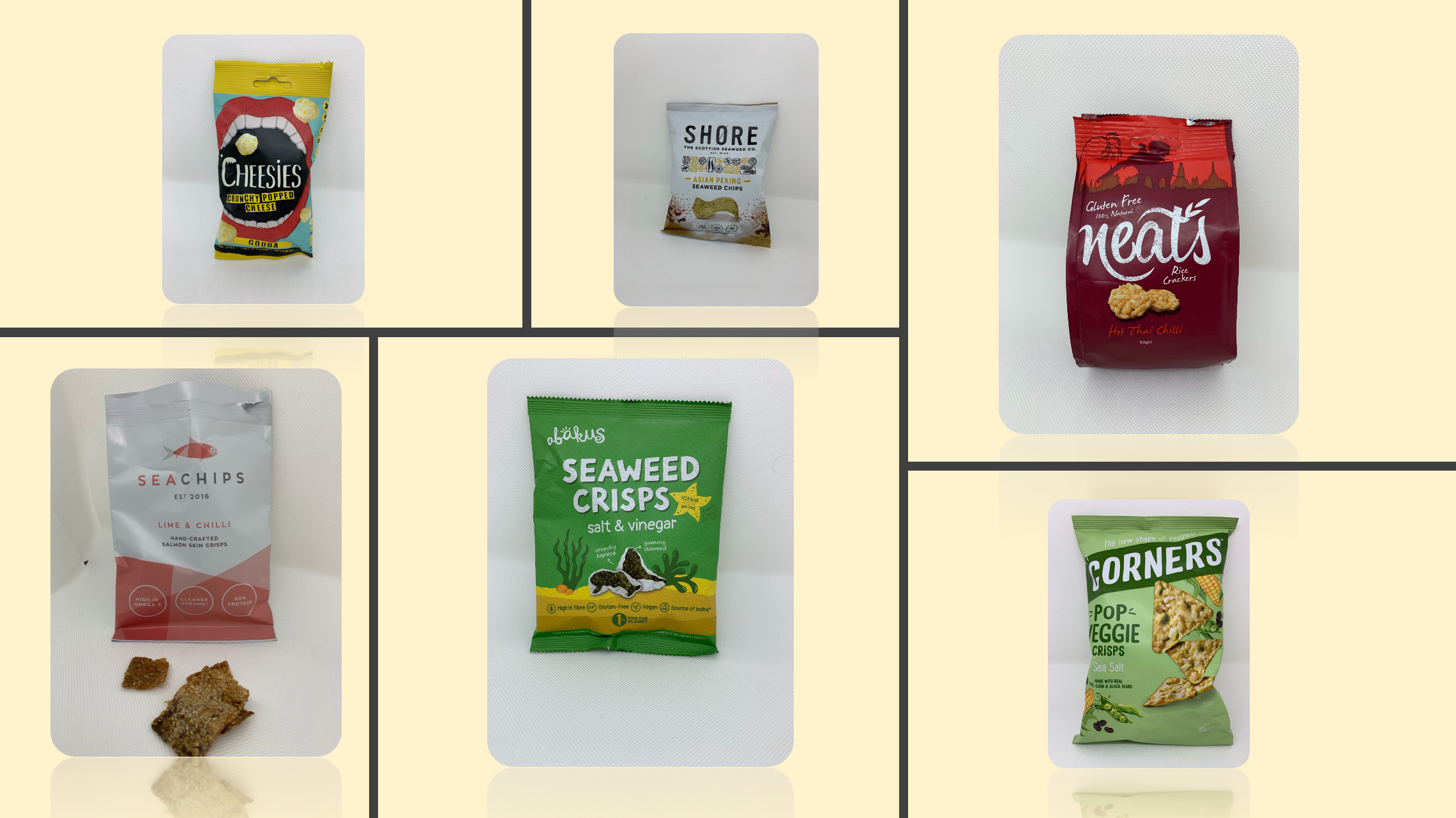 Five savoury snack products made with alternative bases like seaweek, fish skin, cheese, pulses